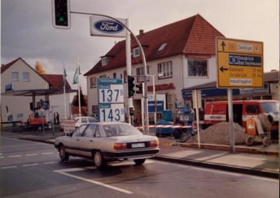 Die Tankstelle während des Umbaus 1984