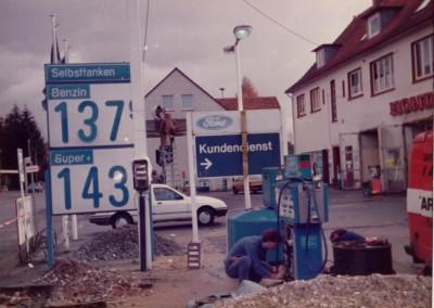 Umbau der Tankstelle 1984